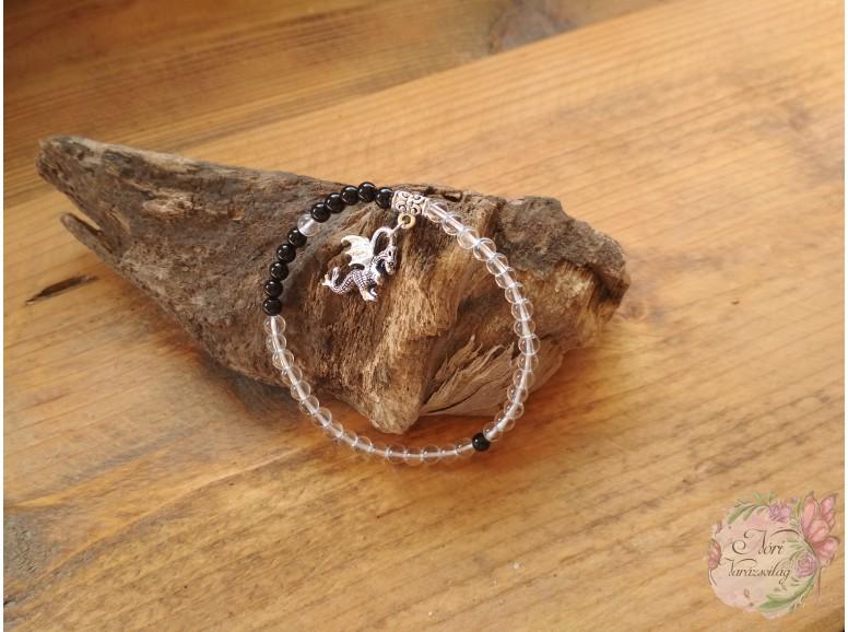 Belső Erő hegyikristály- ónix ásvány karkötő sárkánnyal