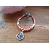 Életvirága karkötő rózsaopálból és rózsaszín korallból